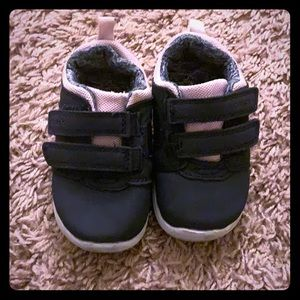 Navy blue,pink and silver infant shoes *Used*